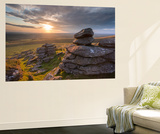 Sunset over Arm's Tor, Dartmoor National Park, Devon, England. Summer (August) Wall Mural by Adam Burton