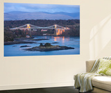 Menai Bridge Spanning the Menai Strait, Backed by the Mountains of Snowdonia National Park, Wales Wall Mural by Adam Burton