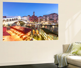 Italy, Veneto, Venice. Rialto Bridge at Dusk, High Angle View Wall Mural by Matteo Colombo