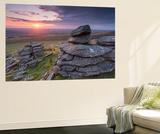 Beautiful Sunset over Arms Tor, Dartmoor, Devon, England. Summer (August) Wall Mural by Adam Burton