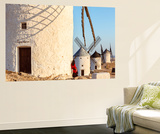 Spain, Castile–La Mancha, Consuegra. Windmills at Sunrise Wall Mural by Matteo Colombo