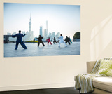 Tai Chi on the Bund (With Pudong Skyline Behind), Shanghai, China Wall Mural by Jon Arnold