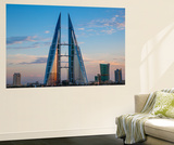 Bahrain, Manama, Bahrain Bay, Bahrain World Trade Center and City Skyline Wall Mural by Jane Sweeney