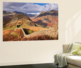 Drystone Wall on Lingmoor Fell Looks Towards Side Pike and Langdale Valley, Lake District, Cumbria Wall Mural by Adam Burton