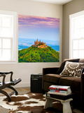 Hohenzollern Castle and Surrounding Countryside at Sunrise, Swabia, Baden Wuerttemberg Wall Mural by Doug Pearson