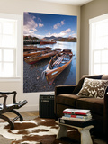 Wooden Rowing Boats on Derwent Water, Keswick, Lake District, Cumbria, England. Autumn Wall Mural by Adam Burton