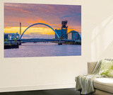 UK, Scotland, Glasgow, River Clyde, Finnieston Crane and the Clyde Arc, Nicknamed Squinty Bridge Wall Mural by Alan Copson