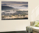 Mist Covered Lake District Countryside at Dawn, Cumbria, England. Autumn (October) Wall Mural by Adam Burton