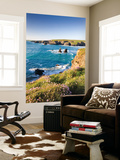 Clifftop View of Porthcothan Bay with Spring Wildflowers, Cornwall, England. Spring Wall Mural by Adam Burton
