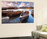 Rowing Boats on Derwent Water at Keswick, Lake District, Cumbria, England. Autumn Wall Mural by Adam Burton