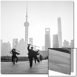 Tai Chi on the Bund (With Pudong Skyline Behind), Shanghai, China Posters by Jon Arnold