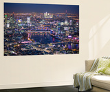 Night Aerial View over River Thames, City of London, the Shard and Canary Wharf, London, England Wall Mural by Jon Arnold