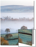 Mist Covered Countryside in the Exe Valley Just North of Exeter, Devon, England. Winter Posters by Adam Burton