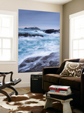 Crashing Atlantic Waves Near Godrevy Lighthouse, Cornwall, England. Winter (February) Wall Mural by Adam Burton