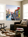 Italy, Veneto, Venice, Burano. Sunset in the Town Wall Mural by Matteo Colombo