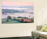 Mist Covered Countryside at Dawn Near Pennorth, Brecon Beacons National Park, Powys, Wales. Spring Wall Mural by Adam Burton