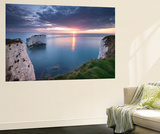Sunrise over Old Harry Rocks, Jurassic Coast, Dorset, England. Spring Wall Mural by Adam Burton