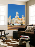 Spain, Madrid. Plaza De Cibeles with Famous Fountain and Town Hall Building Behind Wall Mural by Matteo Colombo