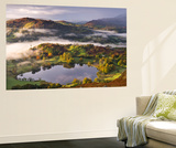 Loughrigg Tarn Surrounded by Misty Autumnal Countryside, Lake District, Cumbria Wall Mural by Adam Burton