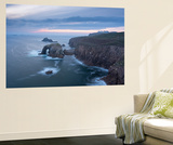 Sunset over the Dramatic Cliffs of Land's End, Cornwall, England. Autumn (September) Wall Mural by Adam Burton