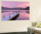 Frosty Wooden Jetty on Ullswater at Dawn, Lake District, Cumbria, England. Winter (November) Wall Mural by Adam Burton