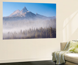 Unicorn Peak Rising Above a Mist Shrouded Forest, Yosemite National Park, California, USA. Autumn Wall Mural by Adam Burton