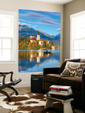 Bled Island with the Church of the Assumption and Bled Castle Illuminated at Dusk, Lake Bled Wall Mural by Doug Pearson