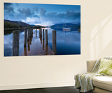 Wooden Jetty and Yacht on Derwent Water Near Lodore, Lake District, Cumbria Wall Mural by Adam Burton