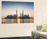 Pudong Skyline across the Huangpu River, the Bund, Shanghai, China Wall Mural by Jon Arnold