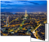 Dusk View over Eiffel Tower and Paris, France Prints by Peter Adams