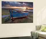 Decaying Fishing Boat on Holy Island at Dawn, with Lindisfarne Castle Beyond, Northumberland Wall Mural by Adam Burton