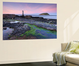 Dusk over Penmon Point Lighthouse and Puffin Island, Isle of Anglesey, Wales, UK. Spring Wall Mural by Adam Burton