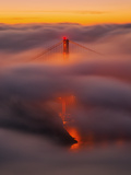 Ethereal Gold, Fog Covered Golden Gate Bridge, San Francisco Alu-Dibond von Vincent James