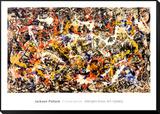 Sammanstrålande Inramat monterat konsttryck av Jackson Pollock