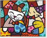 Happy Cat and Snob Dog Framed Print Mount von Romero Britto