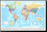 Mapa del mundo Lámina montada y enmarcada