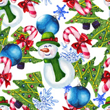 Watercolor Christmas Pattern Premium Giclee Print by  lenavetka87