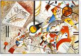 Aquarell voller Leben, ca. 1923 Gerahmter, auf Holz aufgezogener Druck von Wassily Kandinsky