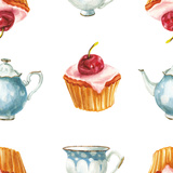 Watercolor Cake and Tea Set Print by  lenavetka87