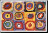 Wassily Kandinsky - Barevná studie čtverců (Farbstudie Quadrate, cca1913) Zarámovaná reprodukce na desce