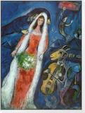 Brautleute im Dorf Framed Print Mount von Marc Chagall