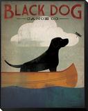Black Dog Canoe Gerahmter, auf Holz aufgezogener Druck von Ryan Fowler