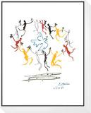 Nuoruuden tanssi Kehystetty ja pohjustettu vedos tekijänä Pablo Picasso