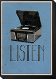 Listen Retro Record Player Art Poster Print Framed Print Mount
