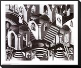 Konkav und Konvex Framed Print Mount von M. C. Escher