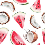 Watercolor Watermelon and Coconut Pattern Prints by  lenavetka87