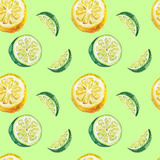 Watercolor Lime and Lemon Pattern Prints by  lenavetka87
