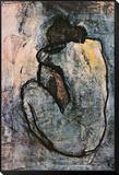Blauw naakt, ca.1902 Ingelijste kunst op hout van Pablo Picasso