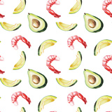 Watercolor Avocado and Shrimp Pattern Prints by  lenavetka87