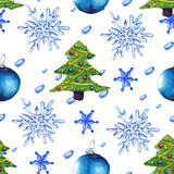 Watercolor Christmas Tree Pattern Poster by  lenavetka87